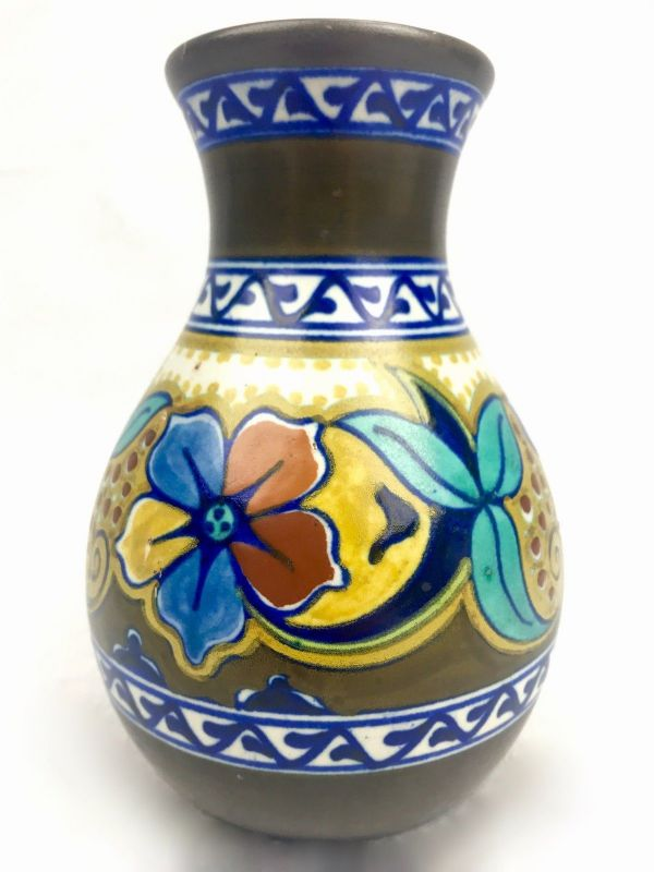 Antique Gouda Pottery Vase / 1925 Art Deco / Blue / Brown / Yellow / Dutch